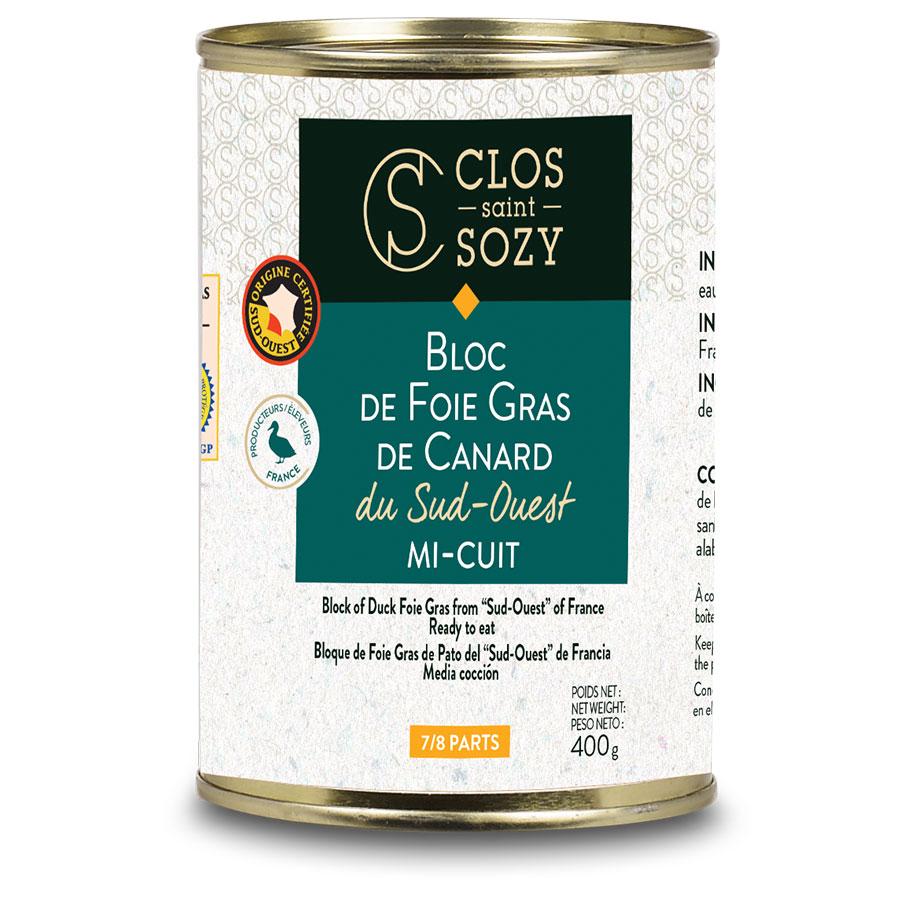 Bloc de foie gras de canard du Sud Ouest mi cuit 400g