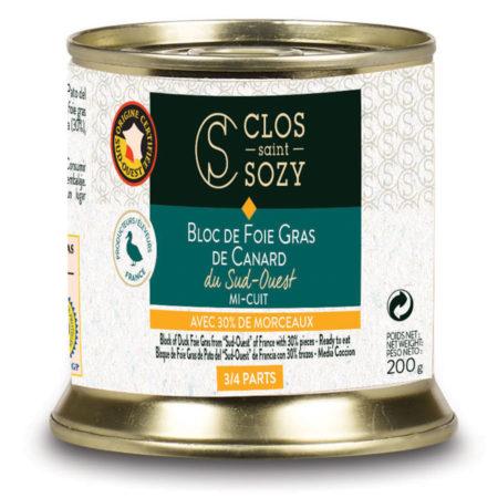 Bloc de foie gras de canard du Sud Ouest mi cuit avec 30% de morceaux 200g