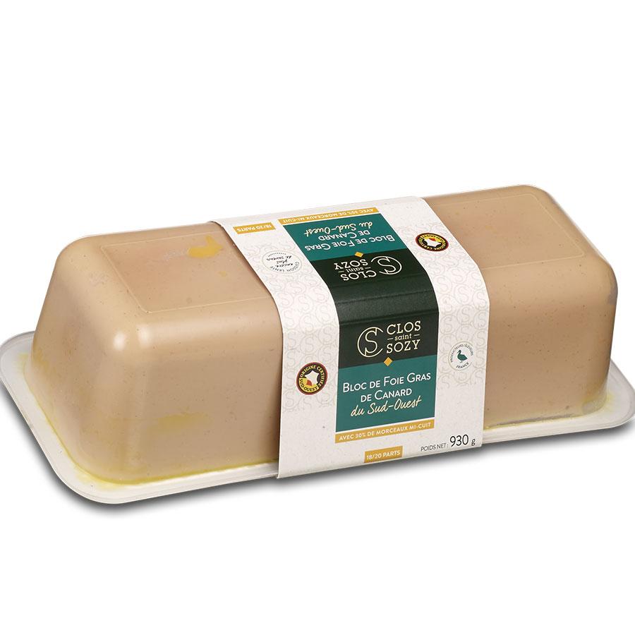 Bloc de foie gras de canard du Sud Ouest mi cuit avec 30% de morceaux 930g